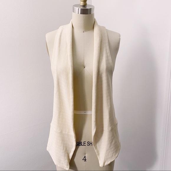 Monrow Jackets & Blazers - Monrow Ivory Cotton Textured Vest
